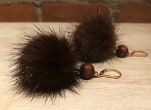 Hazelnut Brown Mink Fur Pom Pom Gold Dangle Earrings with Brown Wooden Bead Accents