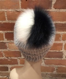 Detachable Navy Blue and Ivory White White Multi-Colored Fox Fur Hat Pom Pom