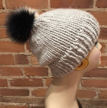 Load image into Gallery viewer, Detachable Navy Blue and Ivory White White Multi-Colored Fox Fur Hat Pom Pom