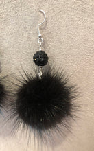 Load image into Gallery viewer, Jet Black Mink Fur Pom Pom Silver Dangle Earrings with Sparkly Bead Accents