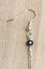 Load image into Gallery viewer, Natural Black Mink Fur Pom Pom Silver Dangle Earrings with Black Crystal Beads