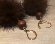 Load image into Gallery viewer, Hazelnut Brown Mink Fur Pom Pom Gold Dangle Earrings with Brown Wooden Bead Accents