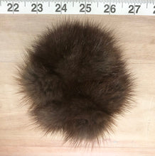 Load image into Gallery viewer, Grey Brown Muskrat Fur Pom Pom Scrunchie Hair Tie