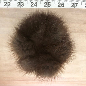 Grey Brown Muskrat Fur Pom Pom Scrunchie Hair Tie