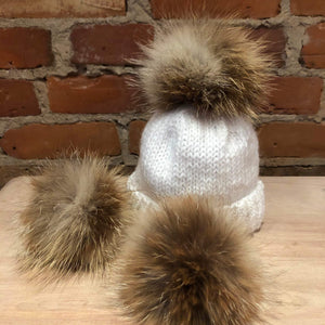 Recycled Fur Sandy Red Fox Pom Pom, Beige and Natural Red Fox Hat Pom, Baby Knit Hat Pom, 3.5-Inch, Small Detachable Fur Ball, Hat Accessory