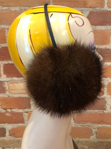 Dark Brown Recycled Muskrat Fur Earmuffs