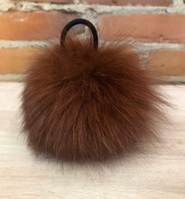 Load image into Gallery viewer, Cinnamon Burgundy Recycled Fox Fur Pom Pom, 5-Inch
