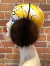 Load image into Gallery viewer, Dark Brown Recycled Muskrat Fur Earmuffs