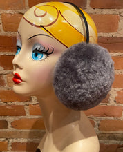 Load image into Gallery viewer, Hand Sculpted Soft Blue Grey, Shark Blue Lamb Fur Earmuffs