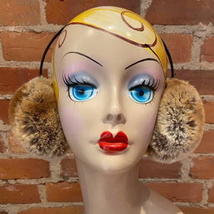 Golden Brown Earmuffs, Brown Sugar Faux Fur Earmuffs, Chunky Sheared Gold Beige Faux Fur Winter Women's Ear Warmers, Warm Winter Accessories, elle Vintage
