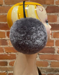 Hand Sculpted Soft Blue Grey, Shark Blue Lamb Fur Earmuffs