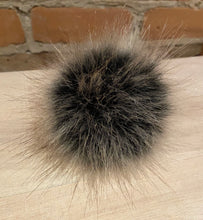 Load image into Gallery viewer, Dark Grey, Brown and Black Faux Fur Pom Pom, 3.5-Inch