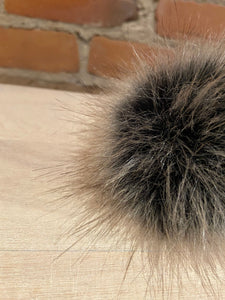 Dark Grey, Brown and Black Faux Fur Pom Pom, 3.5-Inch
