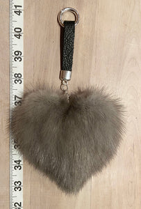 Blue Iris Silver Heart Shaped Mink Fur Italian Leather Key Chain Purse Charm