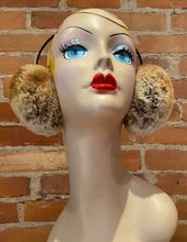 Load image into Gallery viewer, Golden Brown Earmuffs, Brown Sugar Faux Fur Earmuffs, Chunky Sheared Gold Beige Faux Fur Winter Women's Ear Warmers, Warm Winter Accessories, elle Vintage