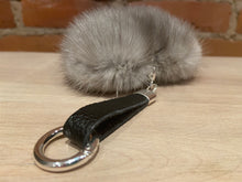 Load image into Gallery viewer, Blue Iris Silver Heart Shaped Mink Fur Italian Leather Key Chain Purse Charm