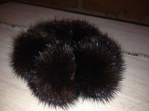 Mink Pom Pom Scrunchie Hair Tie, Various Color Options