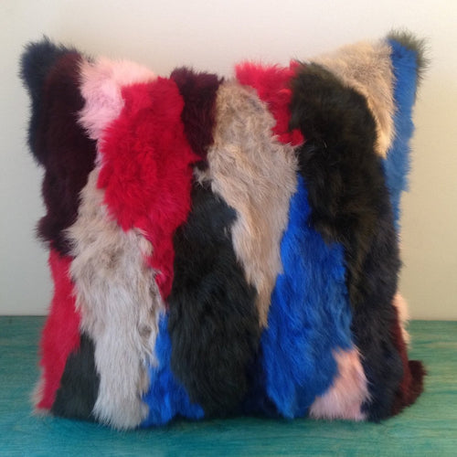 Recycled Fur Pillow Cover, 18 x 18 Red Blue Beige Navy Patchwork Rabbit Fur, Repurposed Real Fur Vintage Coat Cover, Suede Back Pillow Cover, elle Vintage