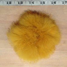 Load image into Gallery viewer, Fur Scrunchie Hair Tie, Mustard Yellow Scrunchie, Pom Pom Scrunchie, Recycled Rabbit Fur Pom Poms, Fur Hair Accessory for Your Ponytail