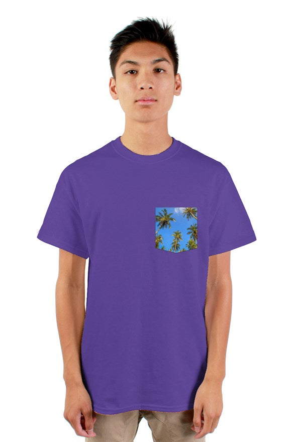 Purple Palms Pocket mens tshirt - My Travel Shop