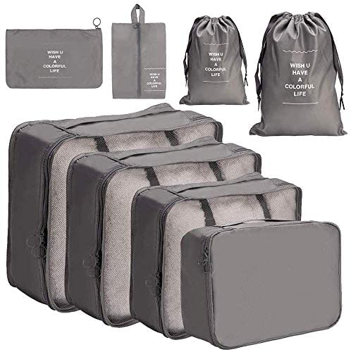 8 Pieces Packing Cubes Reusable Waterproof Large Capacity Lightweight Travel Storage Suitcase Luggage Organizer with Shoes Bag(Grey 8pcs) - My Travel Shop