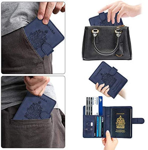 Passport Holder Travel Wallet Cover Case- RFID Blocking Navy Blue - My Travel Shop