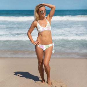 Reversible White & Passport Stamps Bikini - My Travel Shop