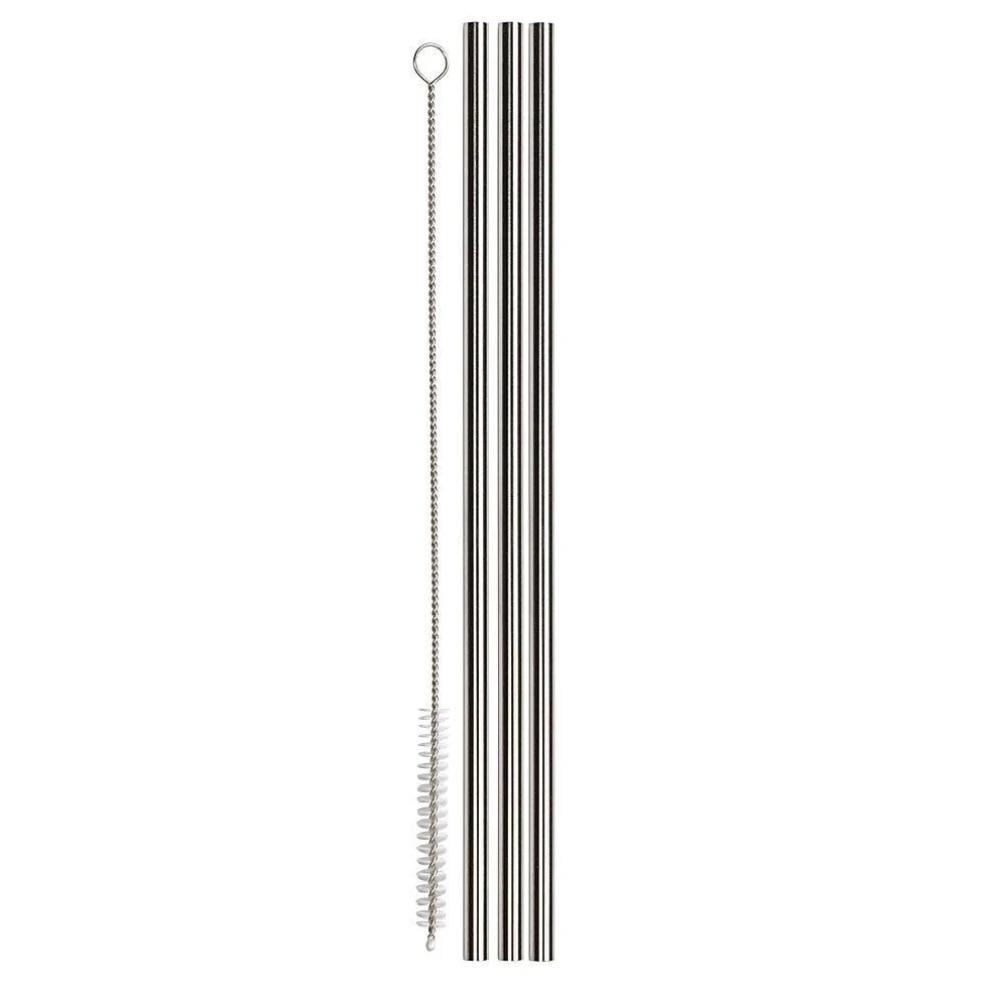 Stainless steel straws 3 pack + brush - My Travel Shop