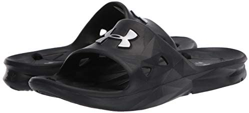 Under Armour Men's Locker III Slide Sandal Flip Flops, Black Logo in Metallic Silver - My Travel Shop