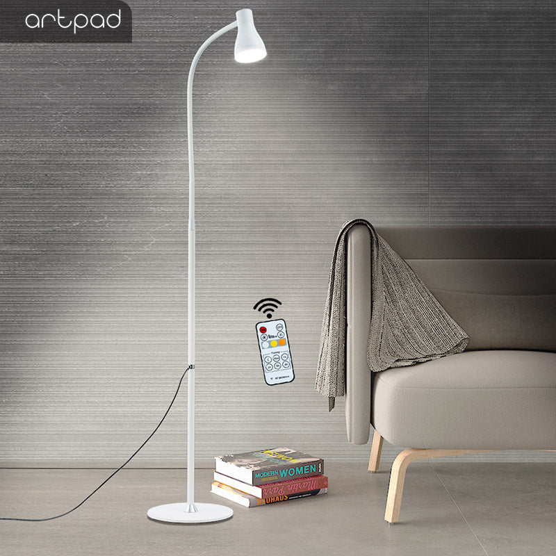 10W Goose Neck White Floor Lamp, 3 Color Temperature 5 Levels Brightness Bedroom Stand Lamp Lighting With Remote Contro