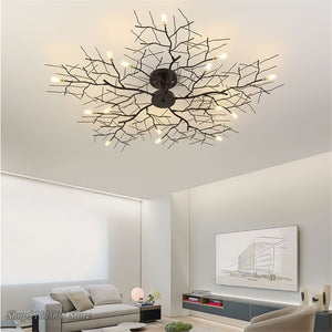 810121520 LED Ceiling Lights American Country Branch Lustre Iron Ceiling Lamp Living Room Home Decor Lighting Fixtures
