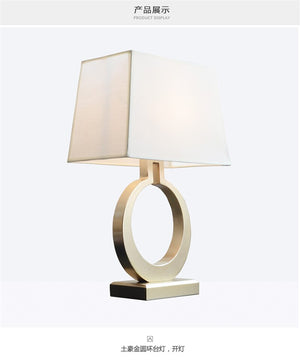 American Art Design LED Table Lamp Fabric Lampshade Nordic Living Room Office Study Bedroom Bedside Table Light Decor Fixtures
