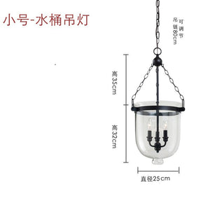 American Country Glass Bucket Pendant Light Retro Dining Room Foyer BlackRust Color Decor LED Pendant Lamp E14 Lighting Fixture