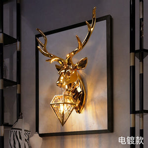American Retro Deer LED Wall Lamps Antlers LED Wall Light Fixtures Modern Living Room Bedroom Bedside Wall Sconce Home Luminaire