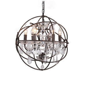 American Vintage Restaurant Bird Cage Crystal Chandelier Lamp Home Deco E14 Bulb Villa Rust Iron Industrial Chandelier Light