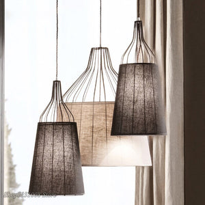 American Fabric Pendant Lamps Modern Simple Pendan Light Nordic Living Room Bedroom Creative Personality LED Iron Hanging Lamps