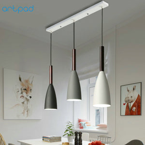 1 Or 3 Heads Nordic Modern Pendant Lamp Lights White Black Iron Lampshade E27 LED Hanging Lamps Lighting Living Room