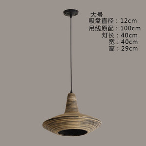 Bamboo Weaving Seashell LED Pendant Lights Southeast Asian Dining Room Parlor Kitchen Hanging Lamp Coffee Country Decor Fixtures