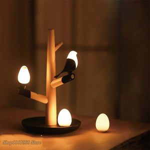 Chinese Style Lucky Bird Night Table Lamp Wood Base Ntelligent Motion Sensor Luminaria Living Room Bedroom Desk Light Fixture