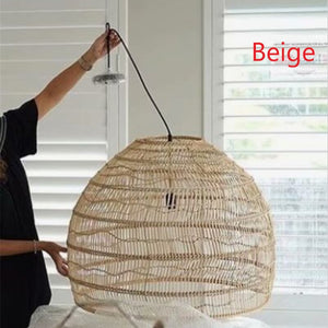 Chinese Wicker Rattan Wave Pendant Light Modern Rustic Art Hanging Lamp Living Room Dining Room Balcony Home Decor Light Fixture