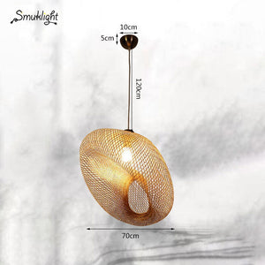Chinese Creative Handmade Bamboo Chandeliers Southeast Asian Living Room Lamps Simple Personality Study Room Bamboo Pendant Lamp