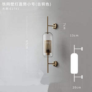 Clear Glass Shade Scones Wall Lamps Modern For Bedroom Bedsides Study Wall Lights Loft Retro Iron Net Mirror Lighting Fixtures