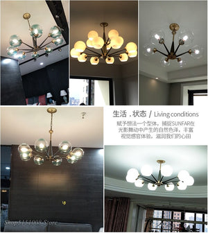 Country Glass Pendant Lights Magic Bean Hanging Lamp Led Hanglamp Loft Industrial Lustre Dining Room Kitchen Light Fixtures