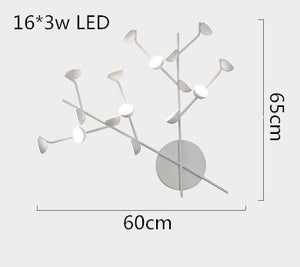 Creative Art Bedroom Bedside Living Room LED Wall Lamp 12816 Heads White Black Wall Sconce Loft LED Branch Wall Light Fixture