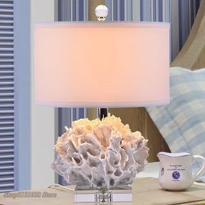 Crystal Table Lamps For Bedroom Luxury Crystal Table Lamp Simple Modern Mediterranean Red Coral Crystal Decor Lighting Fixtures