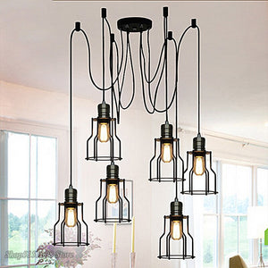 DIY Antique Cluster Edison Retro Spider Chandelier 10 Light For Dining Room Bedroom Droplight For Bar Office Coffee Shop