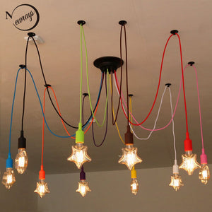 DIY Colourful Spider Chandelier Lamp Lights Led Retro Spider Lighting AC110-240V Custom Made Big Chandeliers Bedroom Dining Room