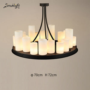 Design Round Candle Chandeliers Lights Nordic Retro Modern Living Room Pendant Lamps Dining Kitchen Restaurant Bar Deco Fixtures