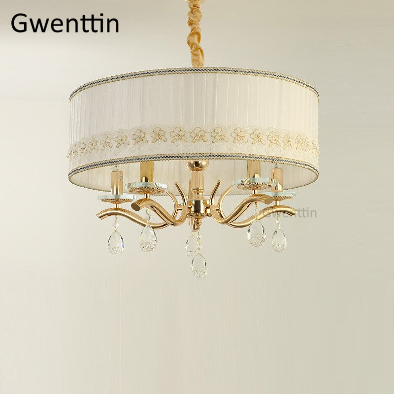 Luxury Gold Pendant Light Fixtures Crystal Modern Led Hanging Lamp