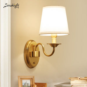Retro Cloth Lampshade Brass Wall Lamp Single Head Candlestick Design Corridor Decoration LED E14 Bulb Lighting